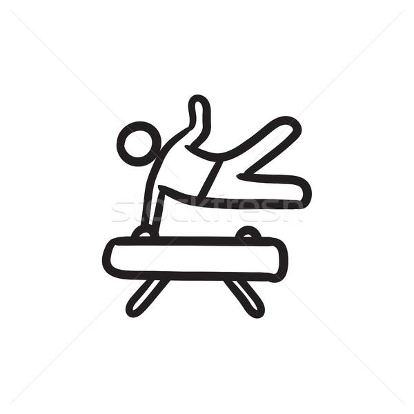 Gymnast exercising on pommel horse sketch icon. Stock photo © RAStudio