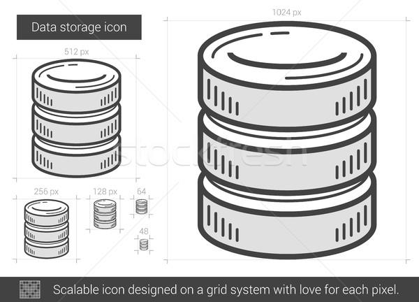 Gegevensopslag lijn icon vector geïsoleerd witte Stockfoto © RAStudio