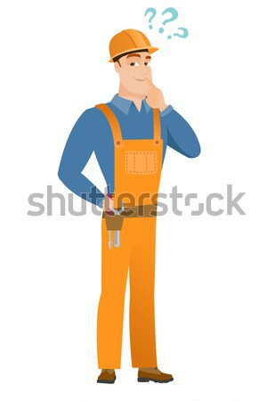 Disappointed caucasian builder with thumb down Stock photo © RAStudio