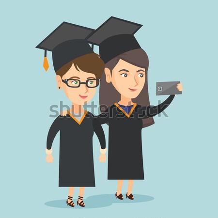Stockfoto: Afgestudeerden · afstuderen · mobieltje · kaukasisch · vector