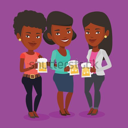 группа друзей пива Паб африканских Сток-фото © RAStudio