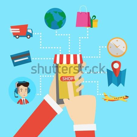 Online alışveriş vektör dizayn örnek insan eller Stok fotoğraf © RAStudio