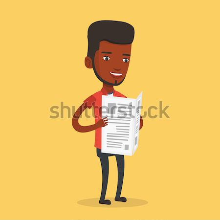 Man reading newspaper vector illustration. Stock photo © RAStudio