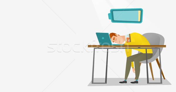 Cansado empleado dormir lugar de trabajo caucásico teclado Foto stock © RAStudio