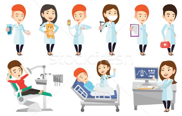 Vector set of doctor characters and patients. Stock photo © RAStudio