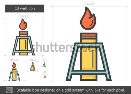 Puits de pétrole ligne icône vecteur isolé blanche Photo stock © RAStudio