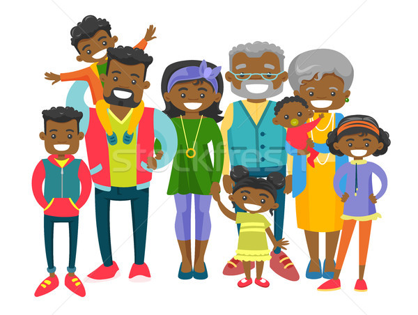 Happy extended african-american family. Stock photo © RAStudio
