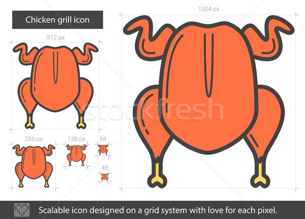 Chicken grill line icon. Stock photo © RAStudio