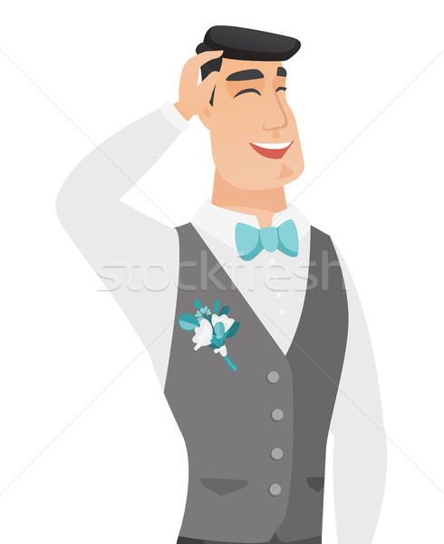 Young caucasian groom laughing. Stock photo © RAStudio