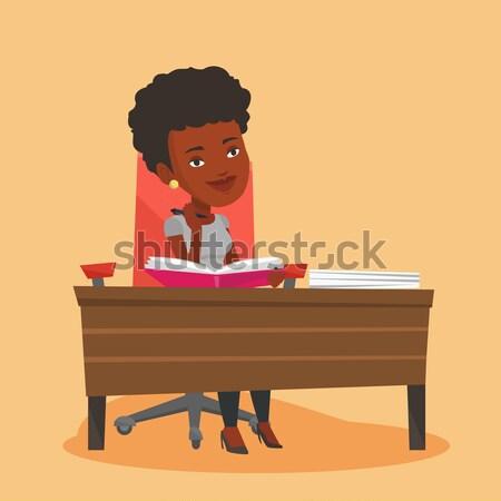 Assinatura negócio contrato empresária escritório mulher Foto stock © RAStudio