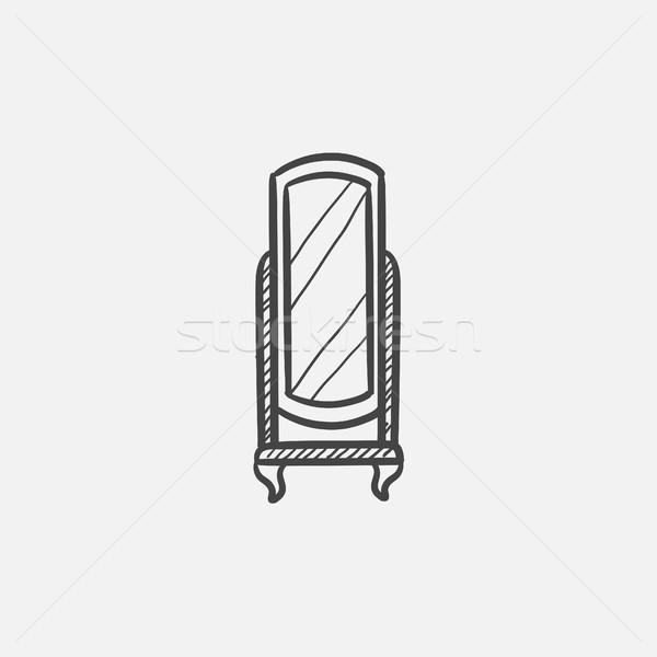 Swivel mirror on stand sketch icon. Stock photo © RAStudio