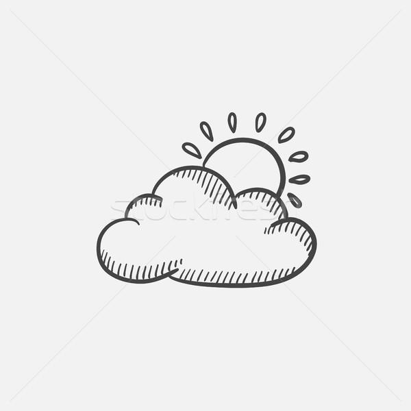 Soleil nuage croquis icône web Photo stock © RAStudio