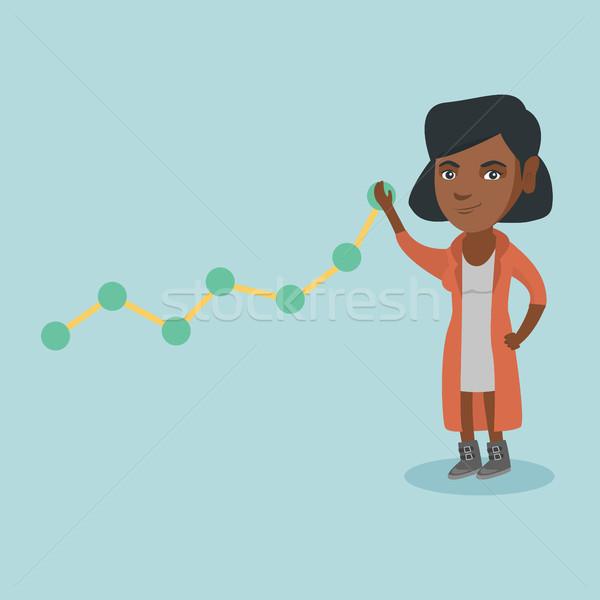 Fiatal üzletasszony húz felfelé üzlet diagram Stock fotó © RAStudio