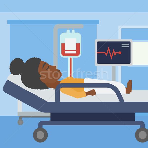 Nő kórházi ágy fiatal nő ágy kórház beteg Stock fotó © RAStudio