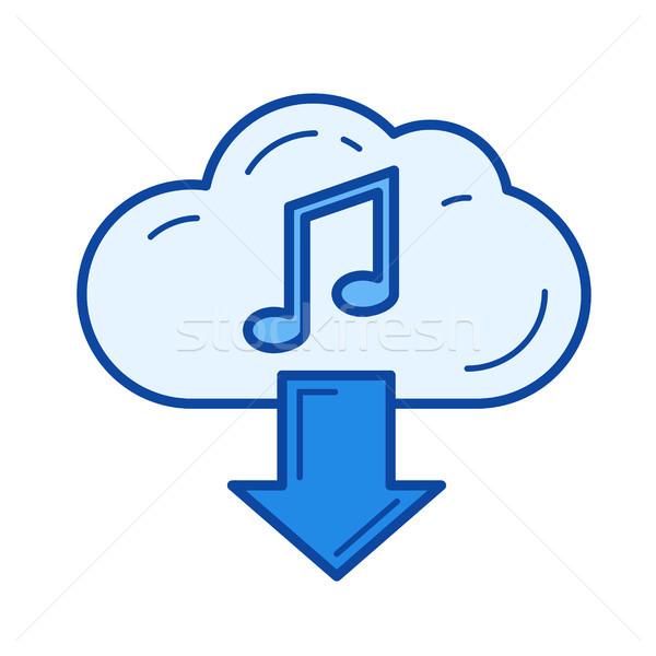 Wolk downloaden muziek lijn icon vector Stockfoto © RAStudio
