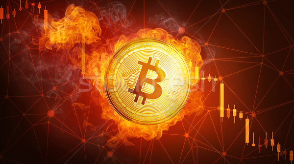 Golden bitcoin coin falling in fire flame. Stock photo © RAStudio