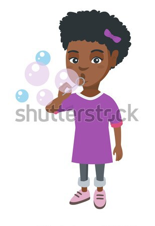 Girl standing under question and exclamation marks Stock photo © RAStudio