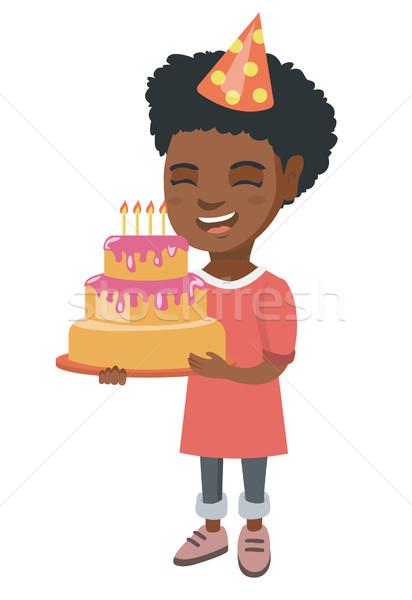 африканских ребенка именинный торт свечей мало Сток-фото © RAStudio