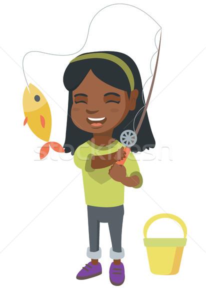 Dziewczynka wędka ryb hak wesoły Zdjęcia stock © RAStudio
