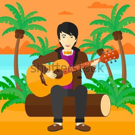 Muzikant spelen akoestische gitaar vergadering man oefenen Stockfoto © RAStudio