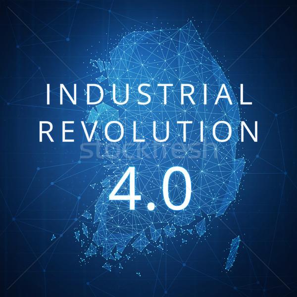 Fourth industrial revolution on blockchain polygon South korea map. Stock photo © RAStudio