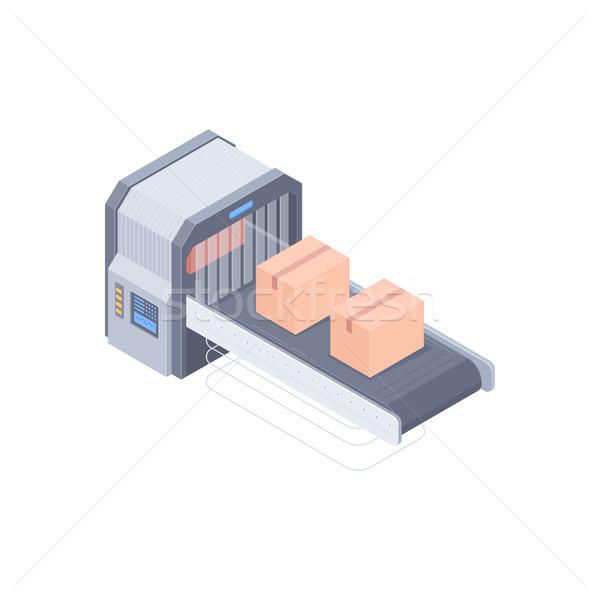 Automated boxing line isometric illustration Stock photo © RAStudio