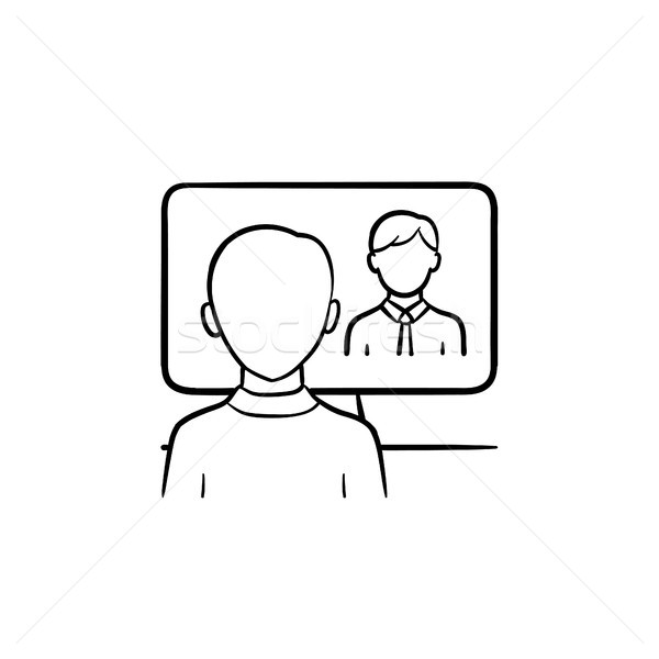 Man in the office hand drawn sketch icon. Stock photo © RAStudio