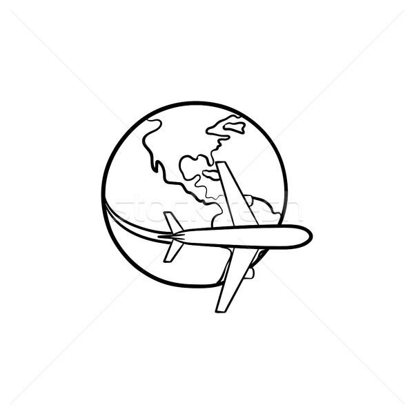 Airplane flying around the world hand drawn icon. Stock photo © RAStudio
