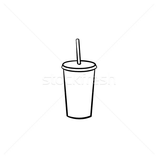 Plastica Cup soda pop sketch Foto d'archivio © RAStudio