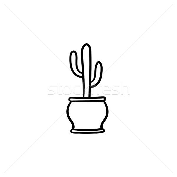 Cactus pot dessinés à la main croquis icône vecteur Photo stock © RAStudio