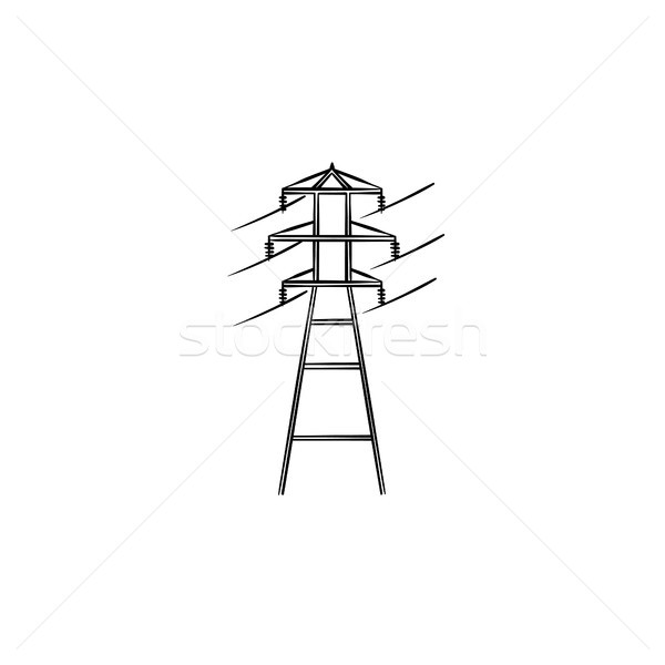 Electrical power line hand drawn outline doodle icon. Stock photo © RAStudio