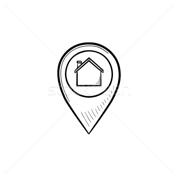 Stock photo: Pointer with house inside hand drawn outline doodle icon.