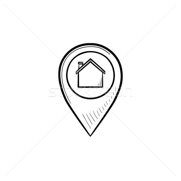 Photo stock: Maison · à · l'intérieur · dessinés · à · la · main · doodle · icône