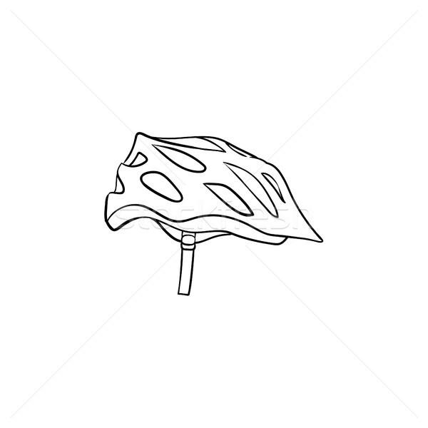 Bicikli sisak kézzel rajzolt skicc firka ikon Stock fotó © RAStudio