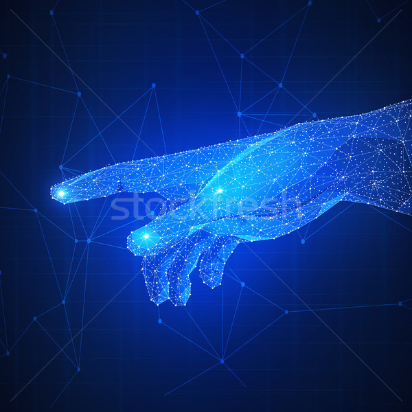 Touch the future low poly futuristic concept. Stock photo © RAStudio