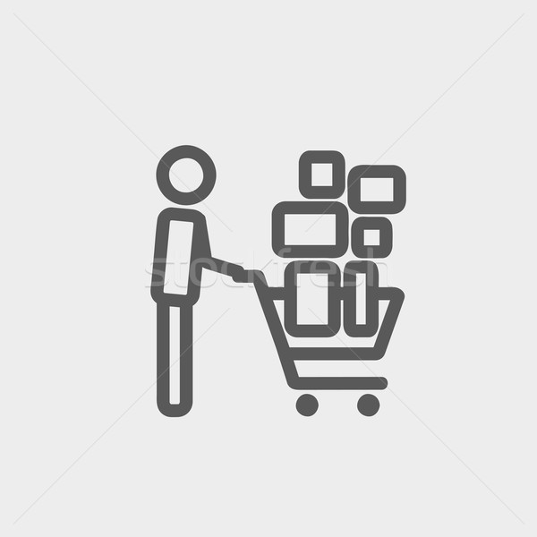 Shopping cart full of shopping bags thin line icon Stock photo © RAStudio