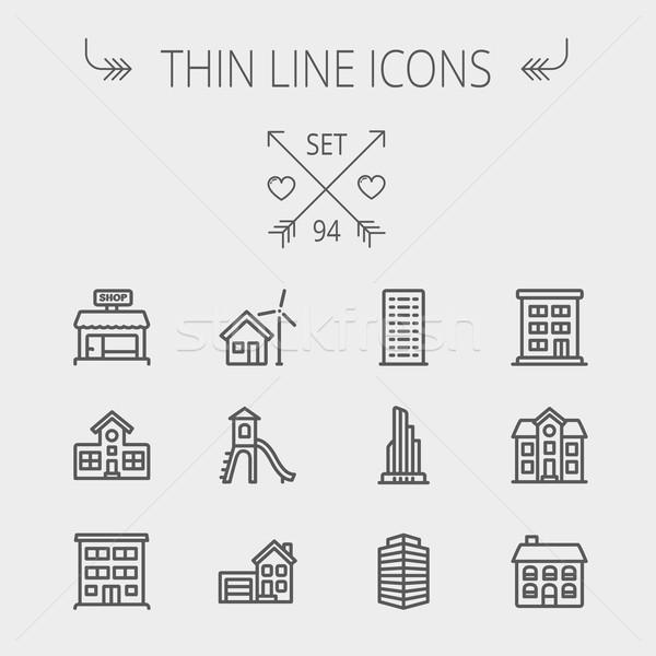 Construction thin line icon set Stock photo © RAStudio