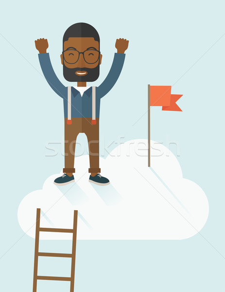 Black man standing on the top of cloud with red flag. Stock photo © RAStudio
