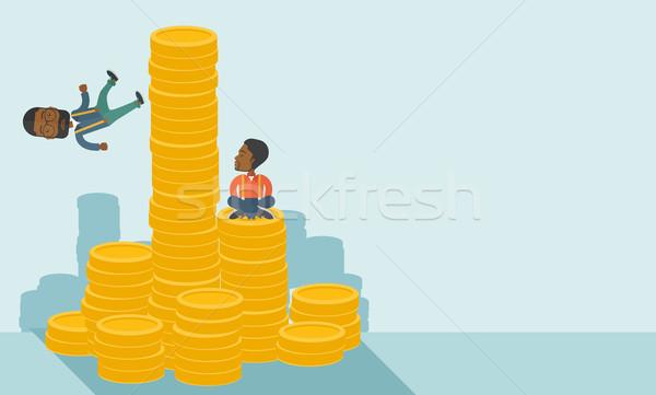 2 黒 ビジネスマン ビジネスマン 1 座って ストックフォト © RAStudio