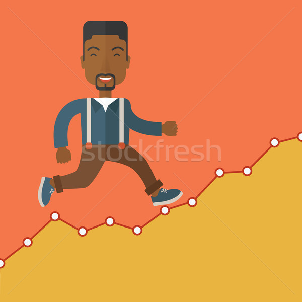 Businessman runs up the hill. Stock photo © RAStudio