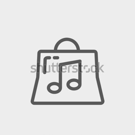 Bevásárlószatyor zenei hang vékony vonal ikon háló Stock fotó © RAStudio