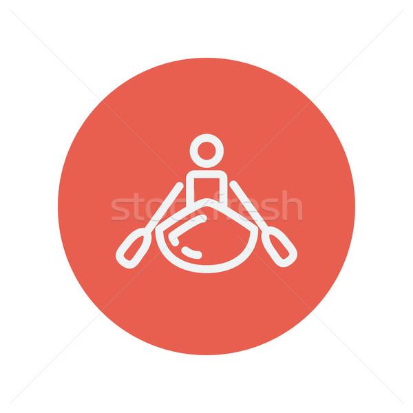 Homem caiaque fino linha ícone teia Foto stock © RAStudio