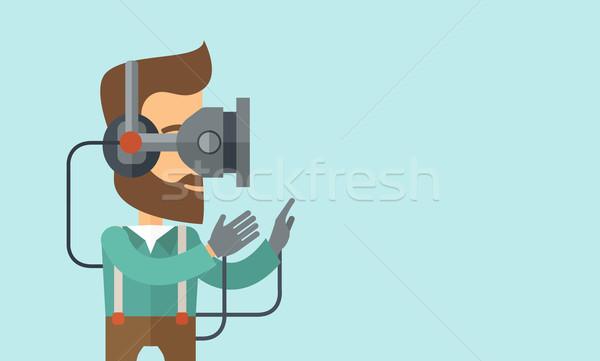 Adam sanal gerçeklik kulaklık kafkas Stok fotoğraf © RAStudio