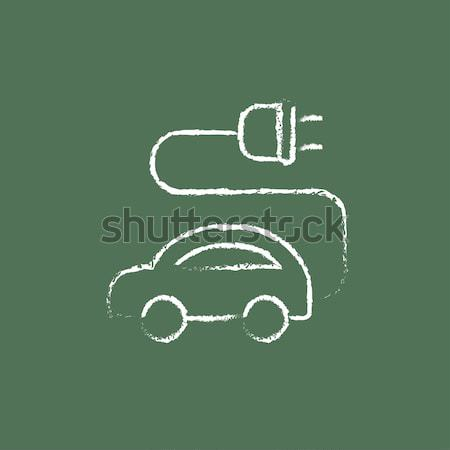 Electric car icon drawn in chalk. Stock photo © RAStudio