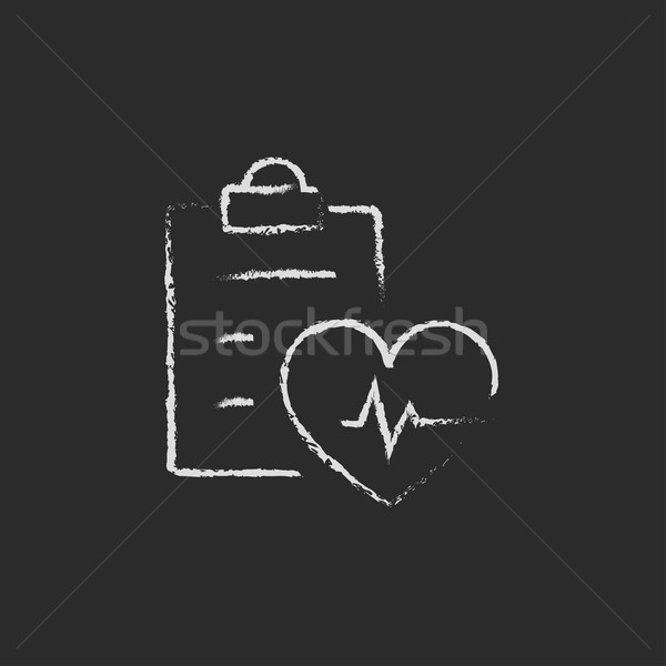 Heartbeat record icon drawn in chalk. Stock photo © RAStudio