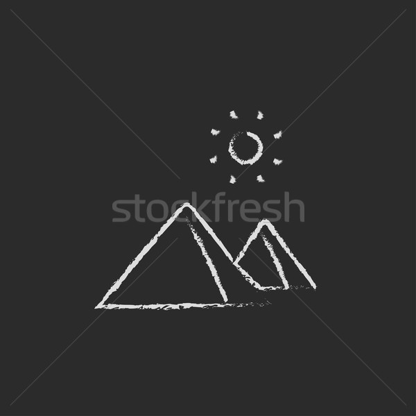 Egípcio pirâmides ícone giz Foto stock © RAStudio