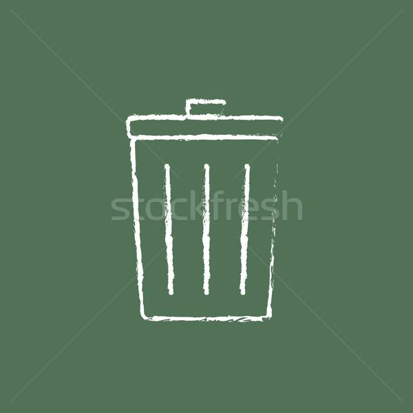 Trash can icon drawn in chalk. Stock photo © RAStudio