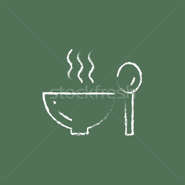 Bowl of hot soup with spoon icon drawn in chalk. Stock photo © RAStudio