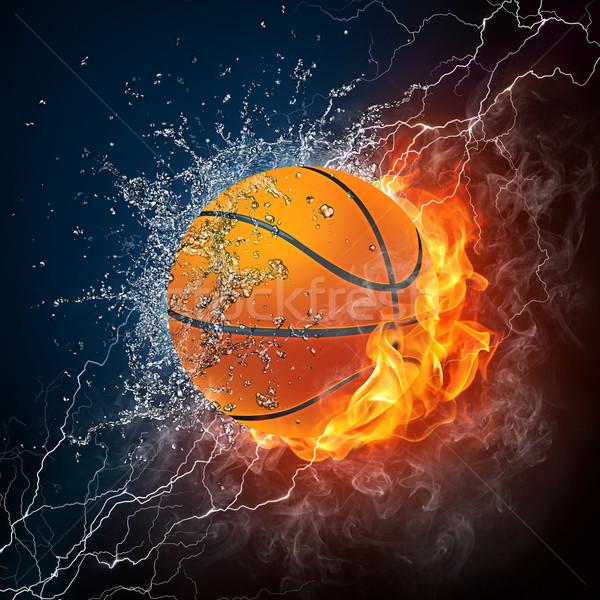 Stock fotó: Kosárlabda · labda · tűz · víz · grafika · számítógép