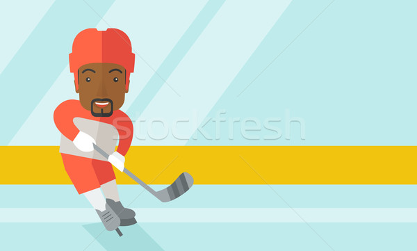 Hockey player at rink. Stock photo © RAStudio